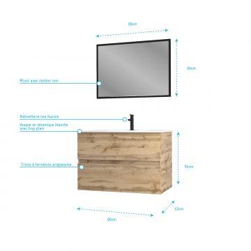 Meuble salle de bain 80x54 - Finition chene naturel + vasque blanche + miroir - TIMBER 80 - Pack 35