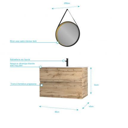 Meuble salle de bain 80x54 - Finition chene naturel + vasque + miroir barber - TIMBER 80 - Pack38