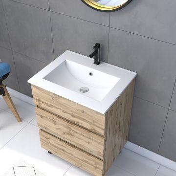 Meuble salle de bain 60x80 - Finition chene naturel + vasque + miroir barber - TIMBER 60 - Pack42