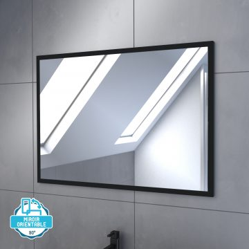 Meuble salle de bain 80x60 - Finition chene naturel + vasque blanche + miroir  - TIMBER 80 - Pack 45