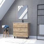 Meuble salle de bain 80x60 - Finition chene naturel + vasque + miroir Led - TIMBER 80 - Pack47