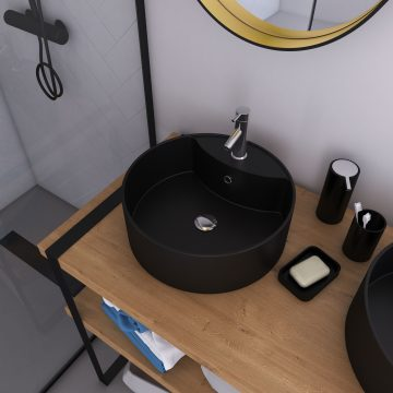 Vasque à poser ronde en céramique noire - diamètre 40cm - hauteur 14cm - ROLL ON DARK