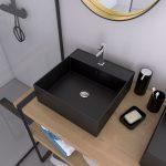 Vasque à poser carrée en céramique noire - 40x40x14cm - SQUARY DARK