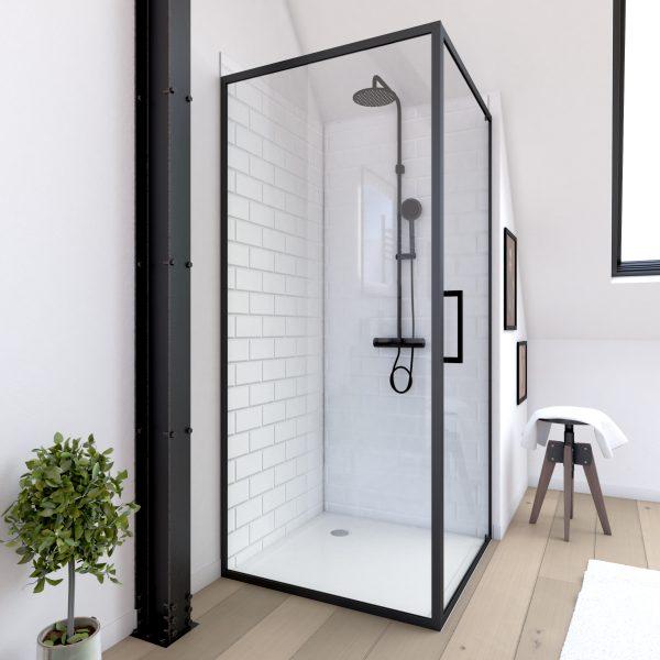 Retour pour Paroi pour douche - 90x200 cm - PROFILE NOIR MAT - verre 6mm