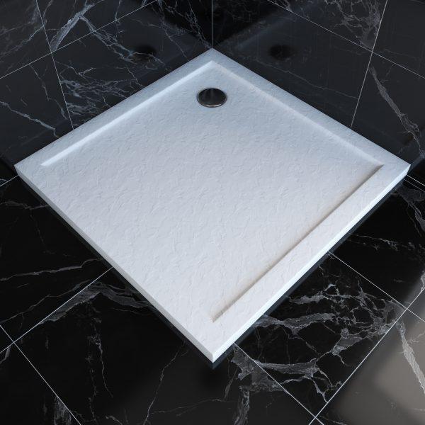 Receveur de douche a poser carre extra plat en acrylique renforcee blanc finition pierre - 90x90 cm