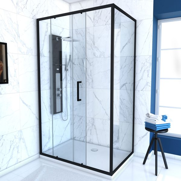 PAROI PORTE DE DOUCHE COULISSANTE + RETOUR 100X90cm - PROFILE NOIR MAT - verre transparent 6mm