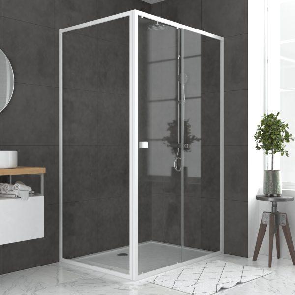 Pack porte de douche Coulissante blanc 120x185cm + retour 90 verre transparent 5mm - WHITY slide 120
