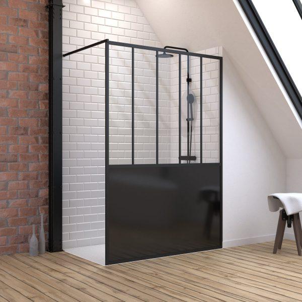 Pack Paroi de douche 140x200 cm noir mat + Receveur de douche a carreler 140x90 cm recoupable