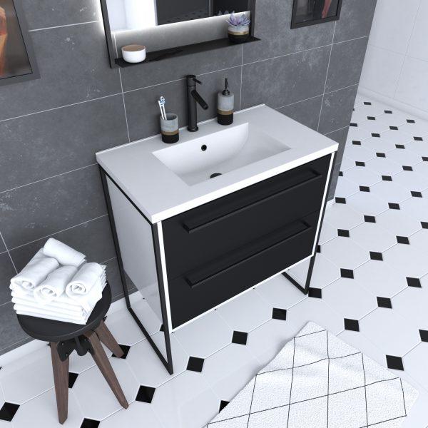 Meuble de salle de bain 80x50cm Blanc - 2 tiroirs noir mat - vasque résine blanche - STRUCTURA P021