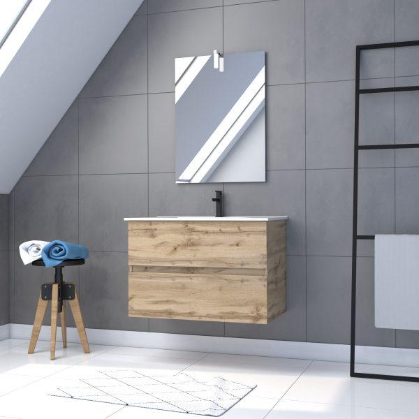 Meuble salle de bain 80x54 - Finition chene naturel - vasque  + miroir Led - TIMBER 80 - Pack37
