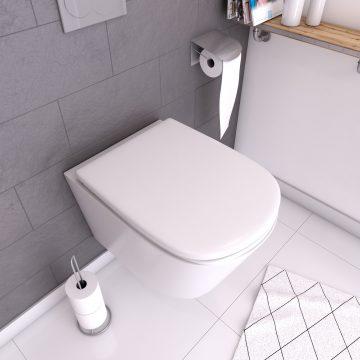 Abattant pour WC blanc - Thermodur et charnières en métal frein de chute - SWEETNESS