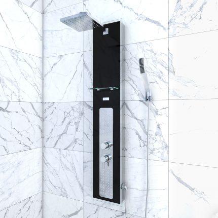 Colonnne de douche à hyrdomassage - 22x125cm - en verre trempé avec plaque inox - ALPHA BLACK