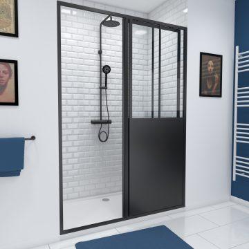 Paroi de douche a porte coulissante type atelier - 140x200cm -  - PROFILE NOIR MAT - verre 5mm