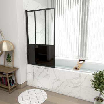 Pare baignoire pivotant 130x75 cm - type verriere - profile noir mat - verre trempe - GLASSY SCREEN