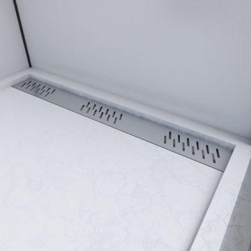 Receveur extra plat a poser 90X90 caniveau - blanc effet pierre anti-derapant -MOON SQUARE LINEAR 90