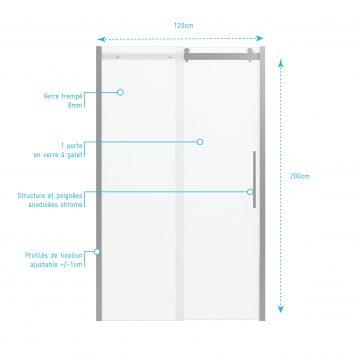 Paroi porte de douche 120x200cm type industriel coulissante CHROME- verre trempe 8mm
