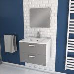 Meuble salle de bain 60cm monté suspendu gris - avec tiroirs - vasque et miroir - BOX-IN 60 GREY