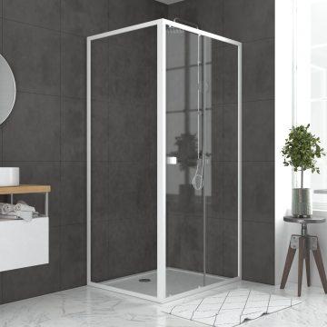 Pack porte de douche Coulissante blanc 100x185cm + retour 80 verre transparent 5mm - WHITY slide 100