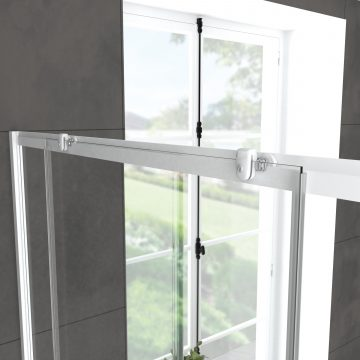 Pack porte de douche Coulissante blanc 100x185cm + retour 90 verre transparent 5mm - WHITY slide 100