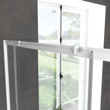 Pack porte de douche coulissante blanc 140x190cm + receveur 90x140 - WHITY SLIDE