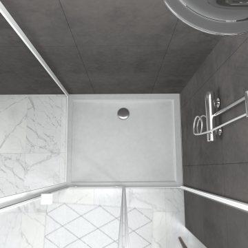 Pack porte de douche Coulissante blanc 100X185 cm  + paroi de retour 80cm + receveur à poser - WHITY