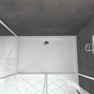 Pack porte de douche Coulissante blanc extensible 140X185 + paroi de retour 80cm + receveur - WHITY