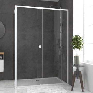 Pack porte de douche Coulissante blanc 140X185 cm  + paroi de retour 90cm + receveur à poser - WHITY