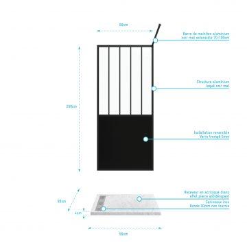 Pack Paroi de douche 90x200 cm noir mat + Receveur extra plat a poser 90X90 cm caniveau