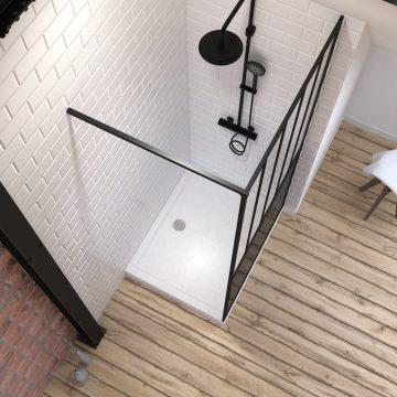 Pack Paroi de douche 100x200 cm noir mat + Receveur haut a poser 100x80 blanc effet pierre