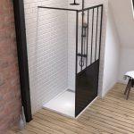 Pack Paroi de douche 100x200 cm noir mat + Receveur extra plat à poser 100x80 blanc effet pierre