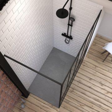 Pack Paroi de douche 90x200 cm noir mat + RECEVEUR DE DOUCHE A POSER EN RESINE SMC