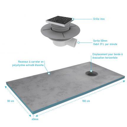 Bac receveur de douche à carreler 160x90cm recoupable sur mesure + bonde horizontale - RAINY