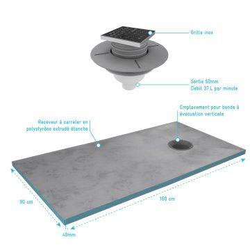 Bac receveur de douche à carreler 160x90cm recoupable sur mesure + bonde verticale - RAINY