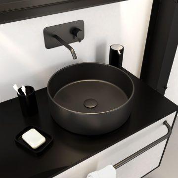 Vasque à poser ronde en céramique - diamètre 36cm - hauteur 12.5cm - ROUNDY DARK