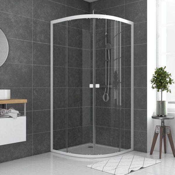 Paroi porte de douche 1/4 cercle blanc 90x90cm de largeur -  verre transparent - WHITY ROUND