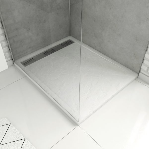 Receveur extra plat à poser 100x80cm caniveau - acrylique blanc effet pierre anti-dérapant - MOON