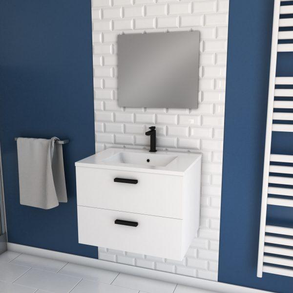 Meuble salle de bain 60 cm monte suspendu blanc H46xL60xP45cm - avec tiroirs - vasque et miroir