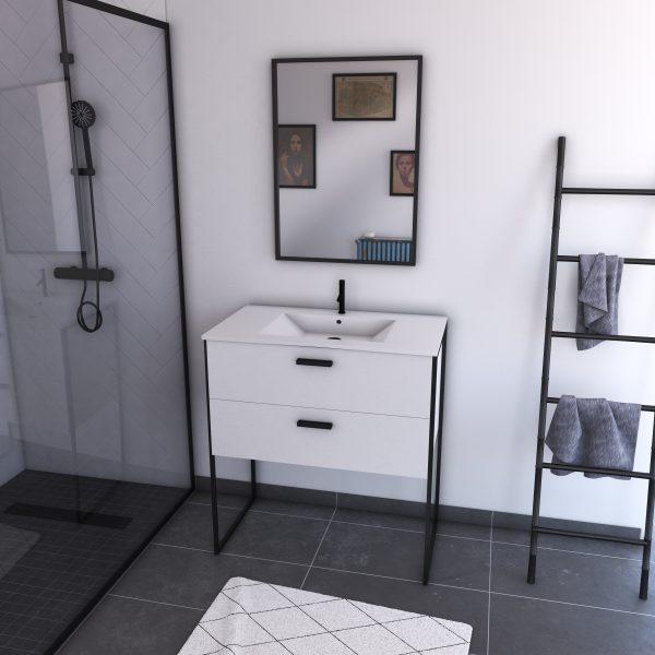 Ensemble meuble de salle de bain - Blanc avec pieds style industriel - 2 tiroirs - vasque blanche