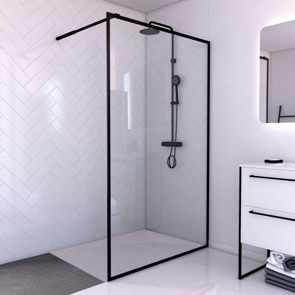 Paroi de douche 120x200 + receveur 120x80 cm - cadre et barre noir mat - CONTOURING 120
