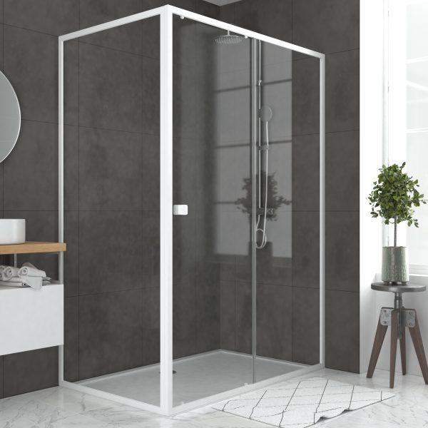Pack porte de douche Coulissante blanc 140x185cm + retour 90 verre transparent 5mm - WHITY slide