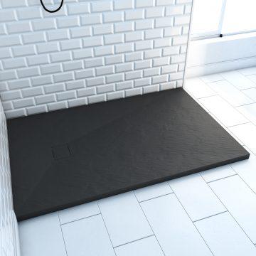 Receveur à poser en matériaux composite SMC - Finition ardoise noire - 80x120cm - ROCK 2 BLACK 80