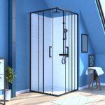 porte de douche carrée coulissante - verre sérigraphié noir 90x90