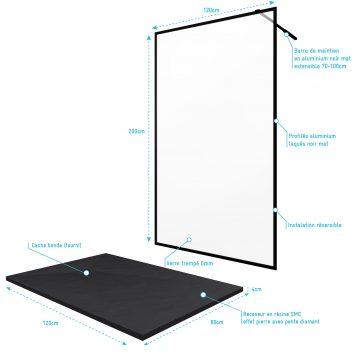 Paroi de douche 120x200cm + receveur a poser 120x80cm - cadre et barre noir mat - CONTOURING 120