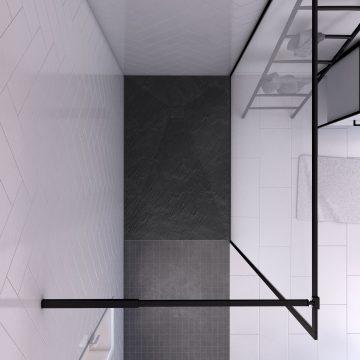 Paroi de douche 140x200 + receveur a poser 140x90 cm + cadre et barre noir mat - CONTOURING 140