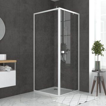 Pack porte de douche pivotante blanc de 79 à 90x185cm + retour 90 verre 5mm - WHITY PIVOT