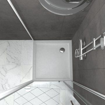 Pack porte de douche pivotante blanc extensible 79 à 90cm + paroi de retour 90 + receveur a poser