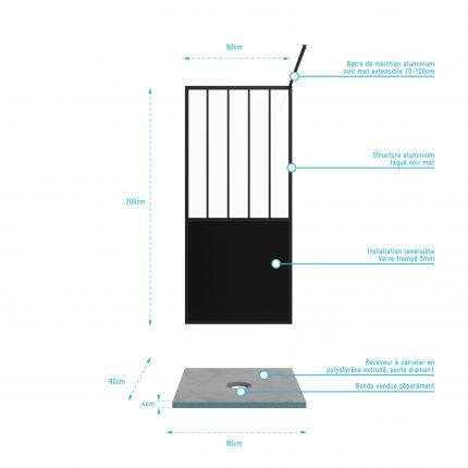 Pack Paroi de douche 90x200 cm noir mat + Receveur haut a poser 90X90cm - blanc effet pierre