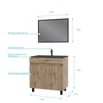 Meuble salle de bain 80x80 cm - Finition chene naturel + vasque noire + miroir - TIMBER 80 - Pack05