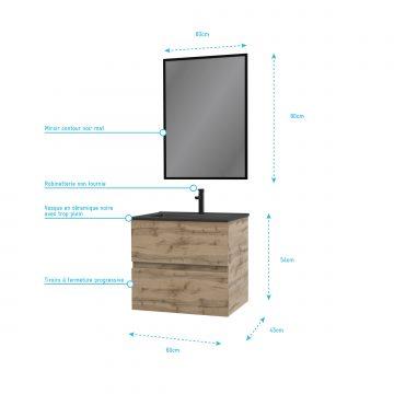 Meuble salle de bain 60x45x54cm - Finition chene naturel + vasque noire + miroir - TIMBER 60 - Pack07
