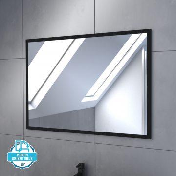 Meuble salle de bain 80x54cm - Finition chene naturel + vasque noire + miroir - TIMBER 80 - Pack11